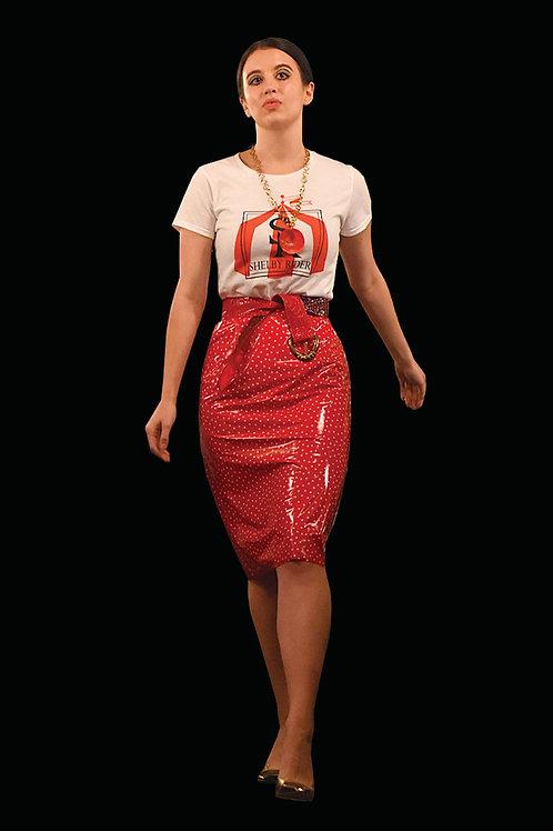 Polka Dot Vinyl Skirt