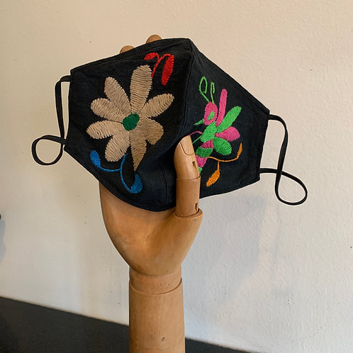 Black Otomi Embroidery Mask