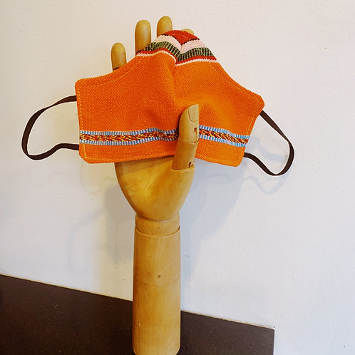 Orange Mexican Backstrap Loom Textile Mask