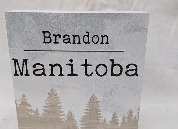 Brandon Manitoba Wood Block Sign