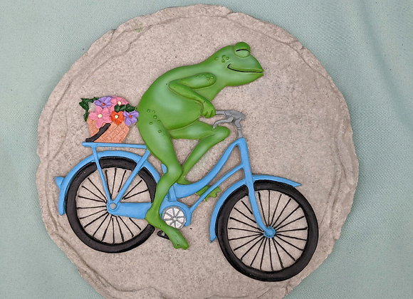 Frog on Bicycle Stepping Stone