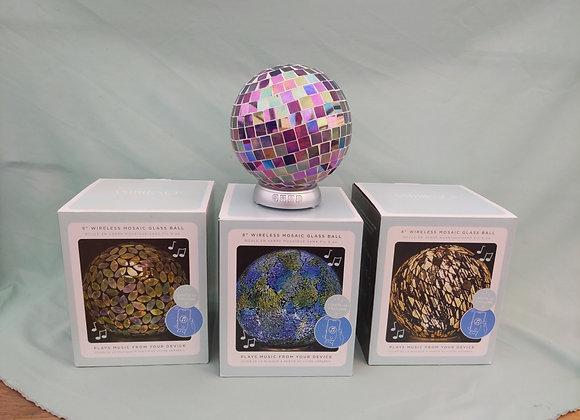 "8"" Light Up Mosaic Glass Ball Speaker"
