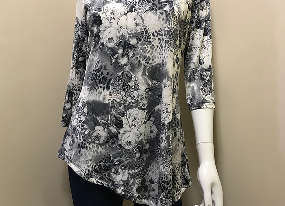 Papa Asymmetrical Floral 3/4  Sleeve Top