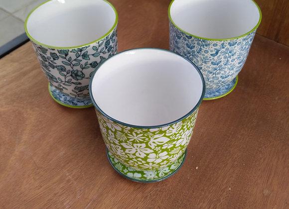 "4"" Dainty Ceramic Planter w. Saucer"