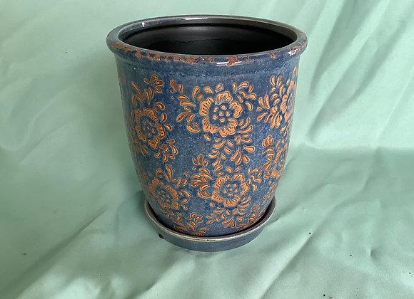 """6"""" Vintage Floral Pot w. Saucer"""
