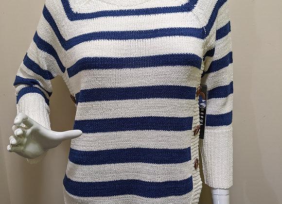 Tribal Stripe Button Sweater