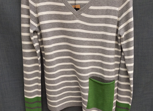 Renuar Striped Sweater W. Green Accent