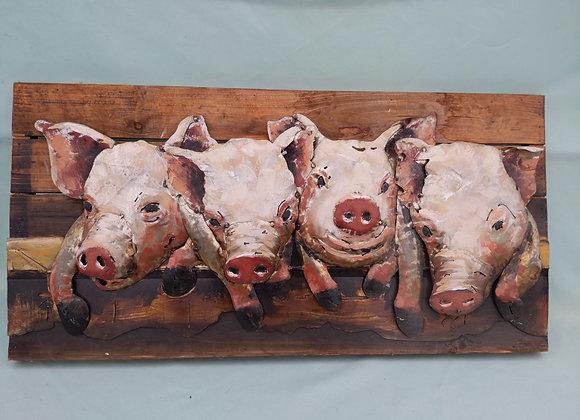 Metal Pig Art Wooden Backing