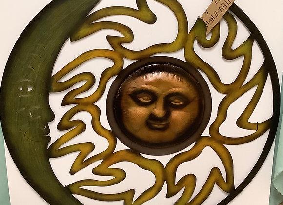 Metal Sun & Moon Wall Art
