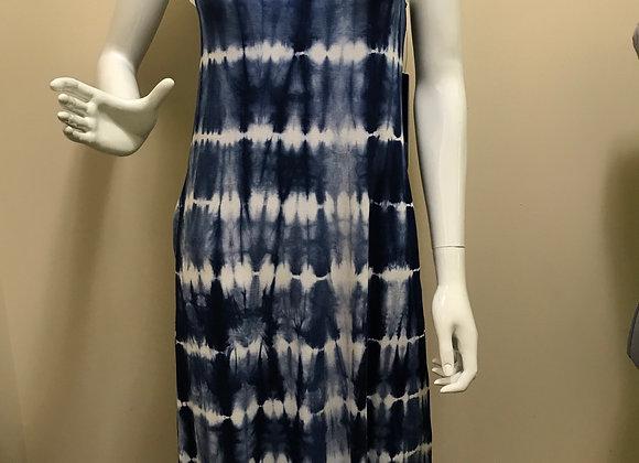 Tribal Indigo Tie Dye Dress