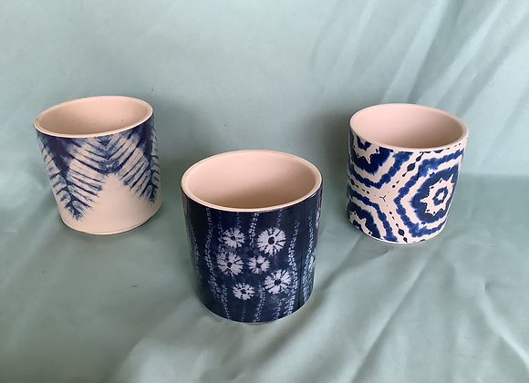 "4"" Ceramic Blue & White Plant Pots"