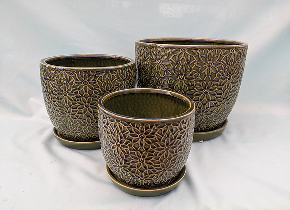 Green Floral Plant Pot with Saucer
