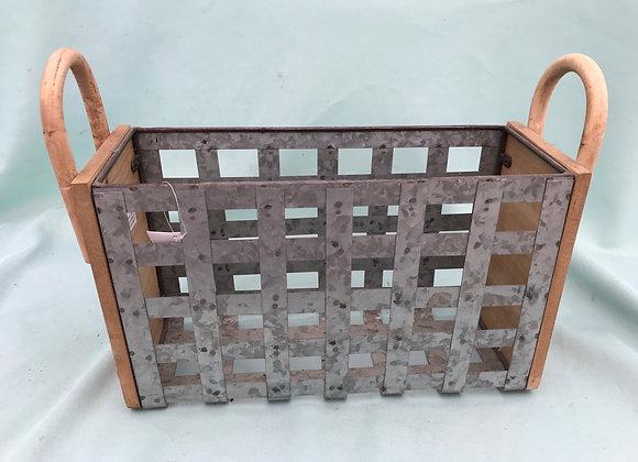 Metal & Wooden Rectangular Basket