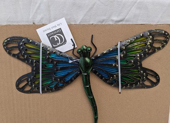 Metal Glass Dragonfly Wall Decor
