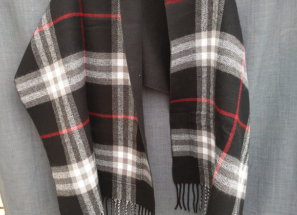 Reversible Blanket Scarf with Pockets