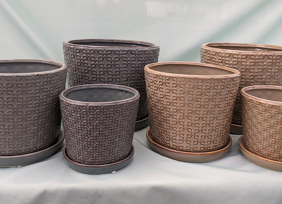 Square Knot Design Plant Pot with Saucer