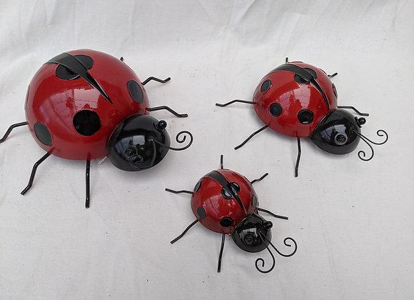 Metal Lady Bug Decoration (Set of 3)