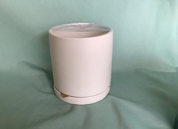 """6"""" Round Matte White Pot w. Saucer"""