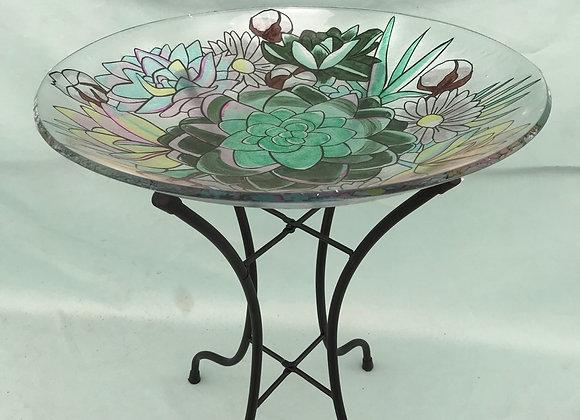 "16"" Glass Bird Bath with Metal Stand"