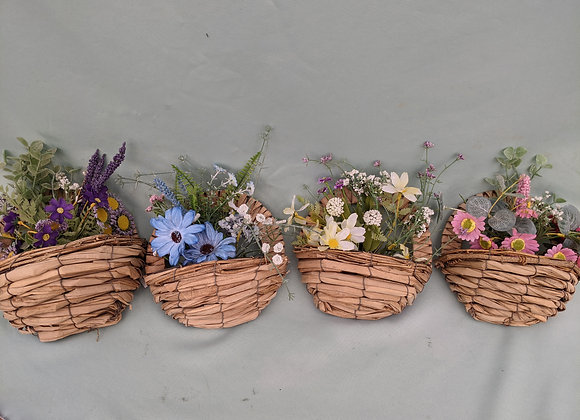 Permanent Hanging Wicker Basket With Flowers