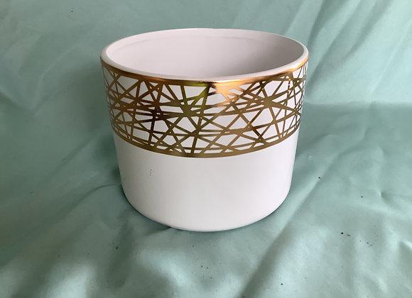 "6"" White Pot w. Gold Detailing"