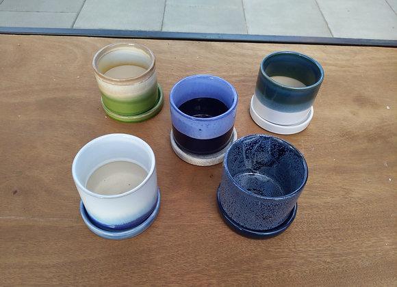 """2"""" Ceramic Planter w. Saucer"""