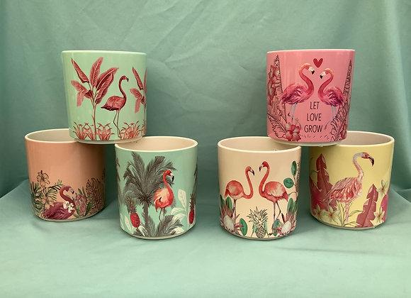 """6"""" Ceramic Flamingo Pottery - 6 Assorted"""