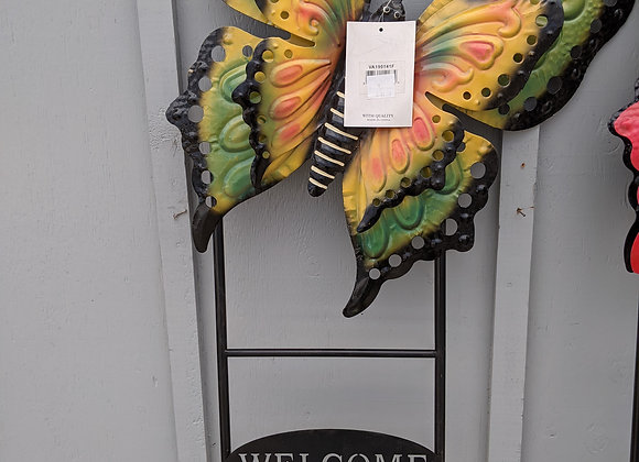 Butterfly Welcome Decorative Stake