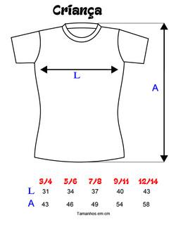 Medidas de T-shirts CRIANÇA