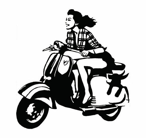 Roupa personalizada tshirts online personalizáveis Infynita lambreta moto motorizada motard moda jovem senhora feminina fashi
