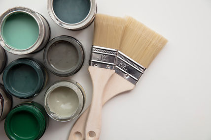 Overhead view of a DIY paint brush with