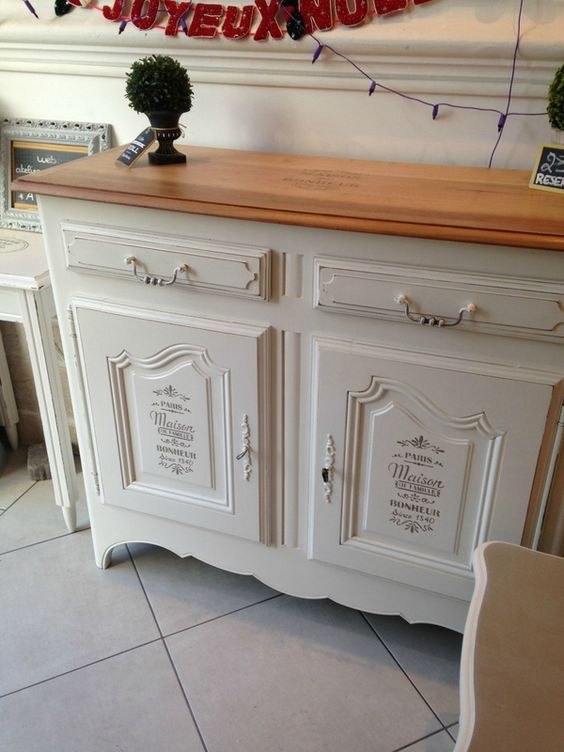 Commode blanche & bois