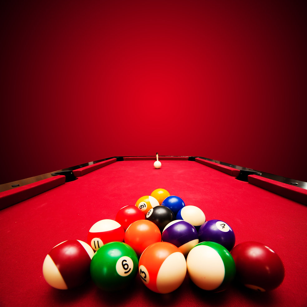 Billards pool game. Color balls in trian