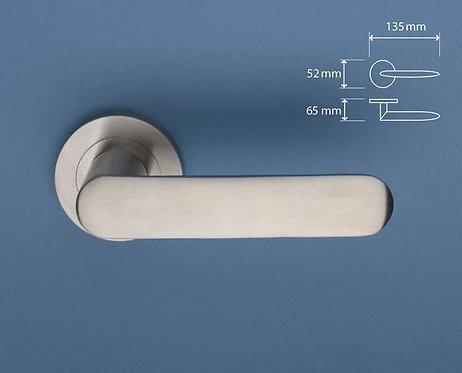 BlueSpec - Broad Stainless Steel Door Lever - Round Rose D52mm