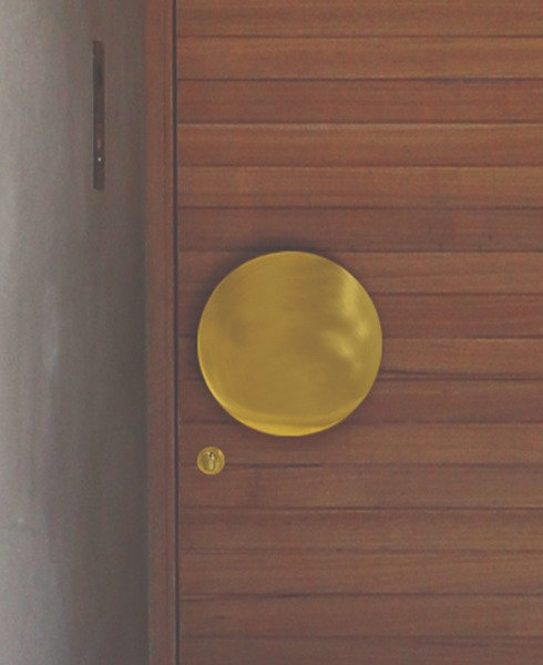 Austyle - Entrance Pull Handle - Satin Brass Circle Design (Back-to-Back) D230mm