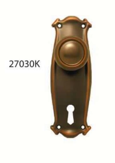 Superior Brass - Art Nouveau/Bungalow Door Knob - Round - Skeleton Key Hole