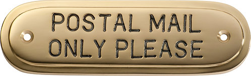 Tradco - Brass Sign - Postal Mail Only Please