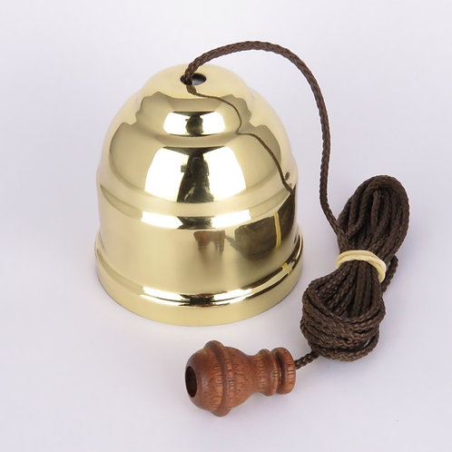 90 Series - Ceiling Switch - Classic Brass - Brown Pull Cord