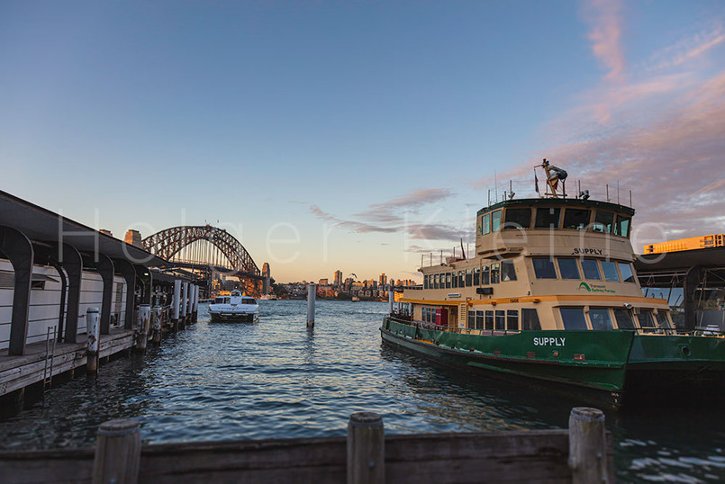 The green yellow ferries at Circular Quay, Sydney Australia.