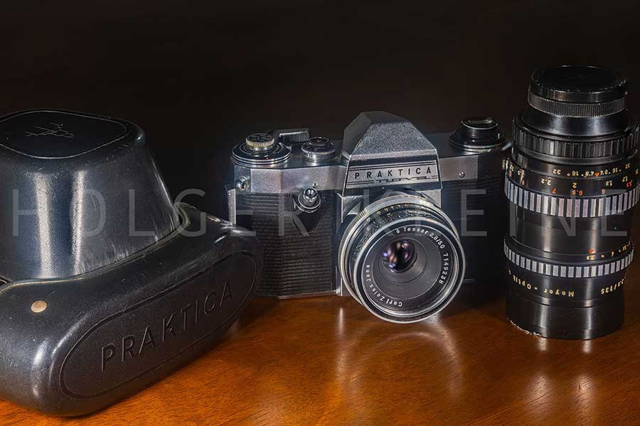 Old scratched antique Praktica Nova photo camera