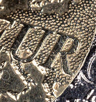 High resolution macro photography of a 2 Euro coin