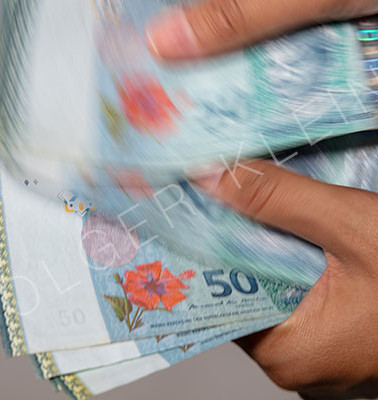Female hands counting malaysian Ringgit