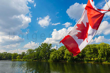 Canadian flag on a cruise boat