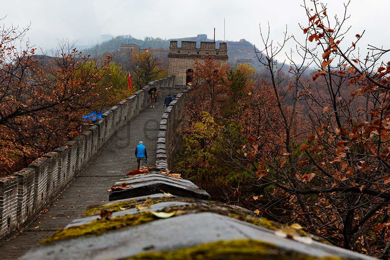 The great wall of china in the mountains near the city of Beijing.