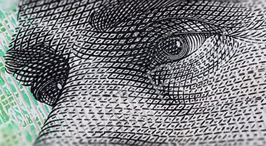 Macro Photography of the eyes of AB 'Banjo' Paterson on the 10 Dollar Australia