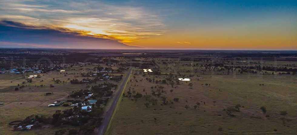 Aerial view during sunrise over the Australian outback