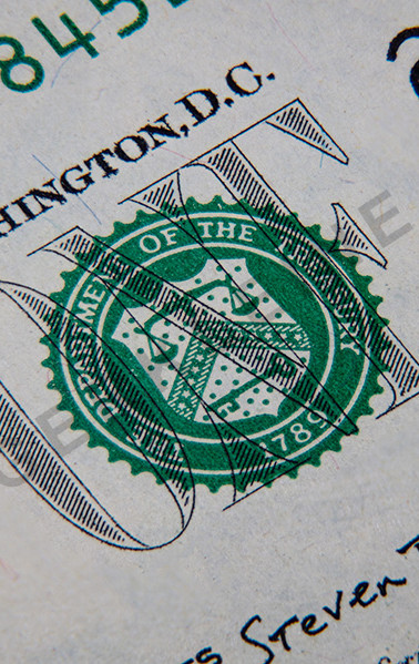 Macro photography of a 1 US dollar banknote