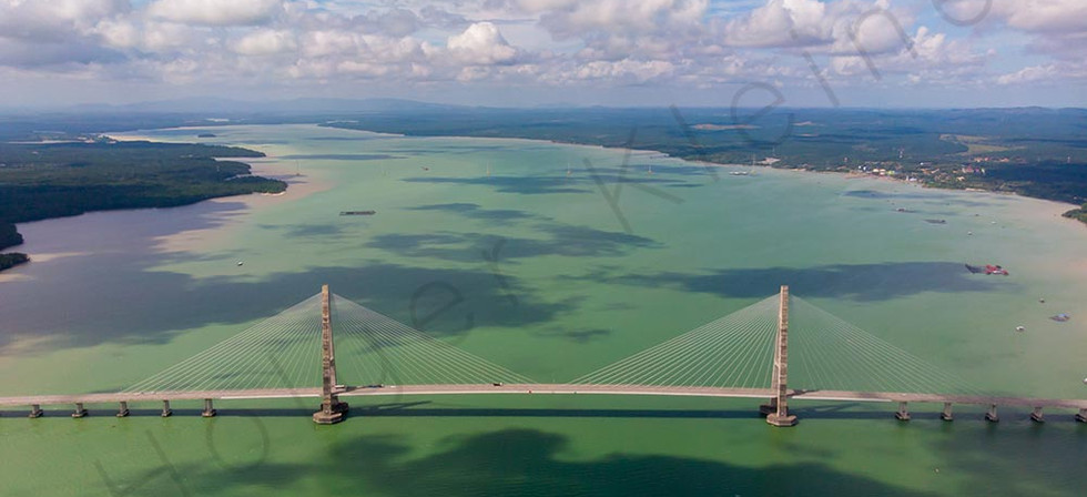 Aerial view of the Johor Bridge, Malaysia