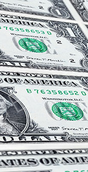Close up of a one dollar banknote