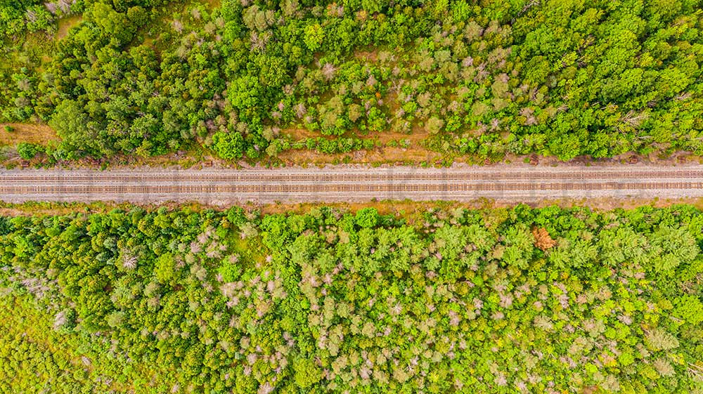 Aerial view of a railroad track near by Merrickville, Ontario, Canada